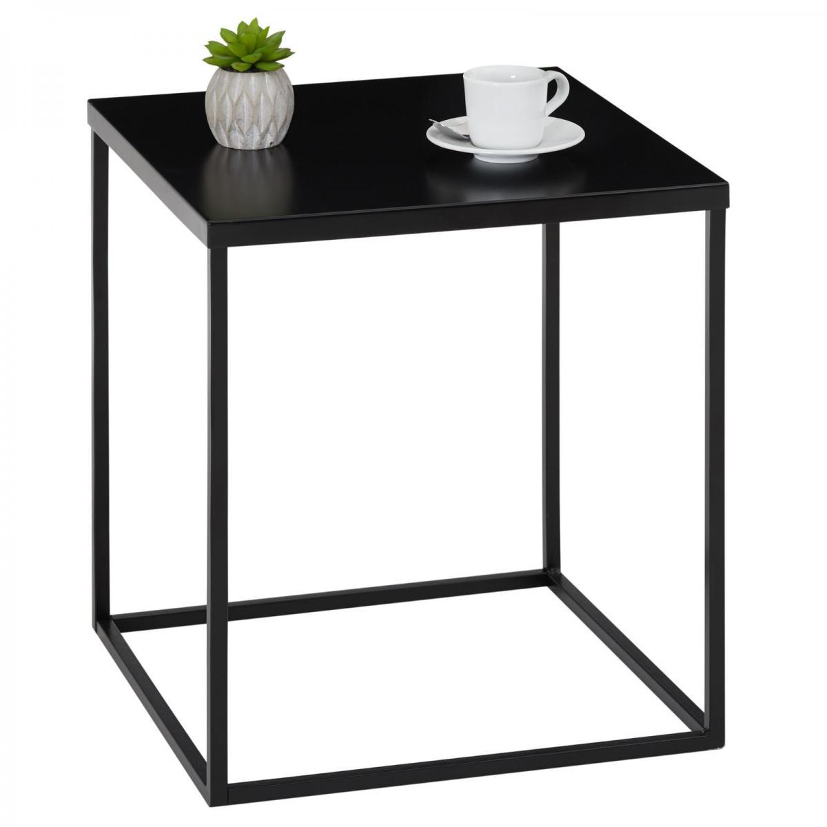 Idimex Table d'appoint carré HILAR, cadre et plateau en métal laqué noir