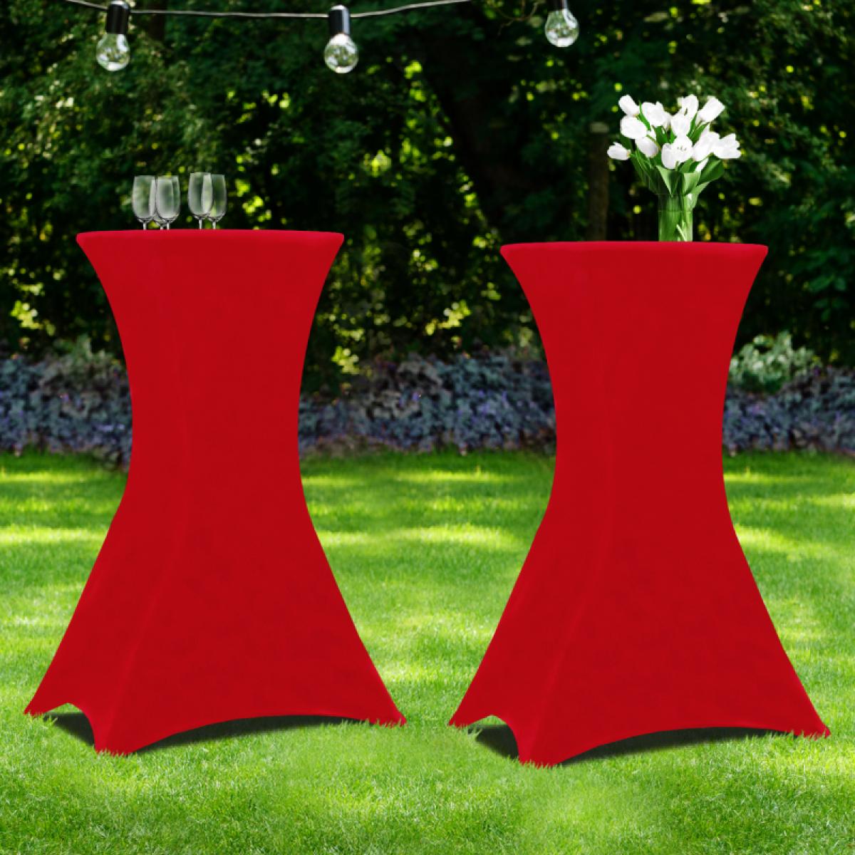 Idmarket Lot de 2 tables hautes 105 cm pliantes + 2 housses bordeaux
