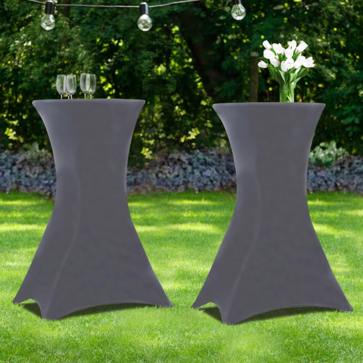 Idmarket Lot de 2 tables hautes 105 cm pliantes + 2 housses gris anthracite