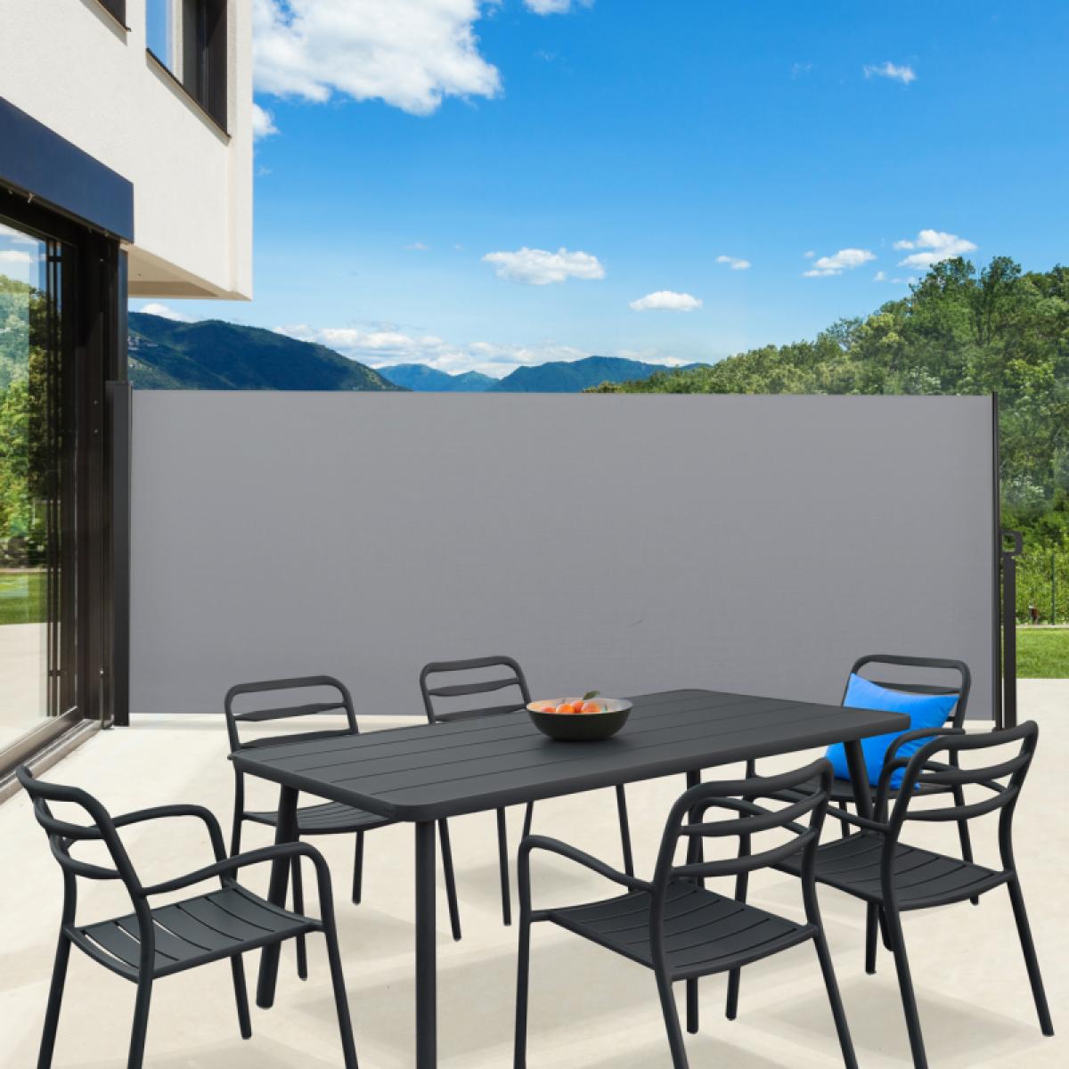 Idmarket Paravent extérieur rétractable 400 x 200 cm gris clair store latéral