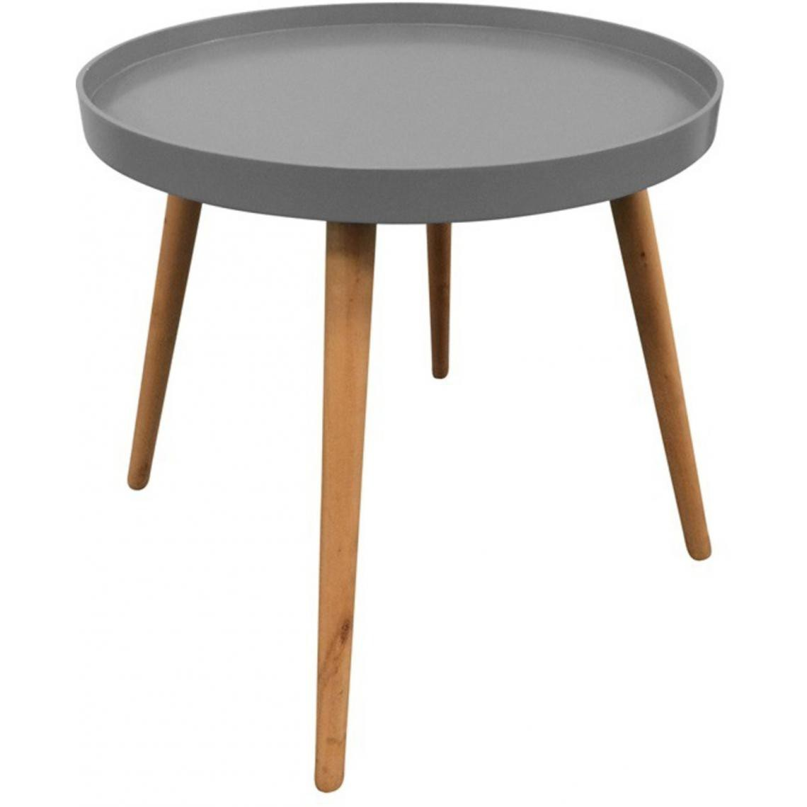 3S. x Home Table Ronde Plateau Gris DEER
