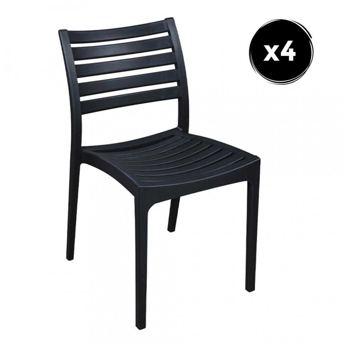 Imperial Relax Pack 4 Chaise Quebec Polipropilene Anthracite