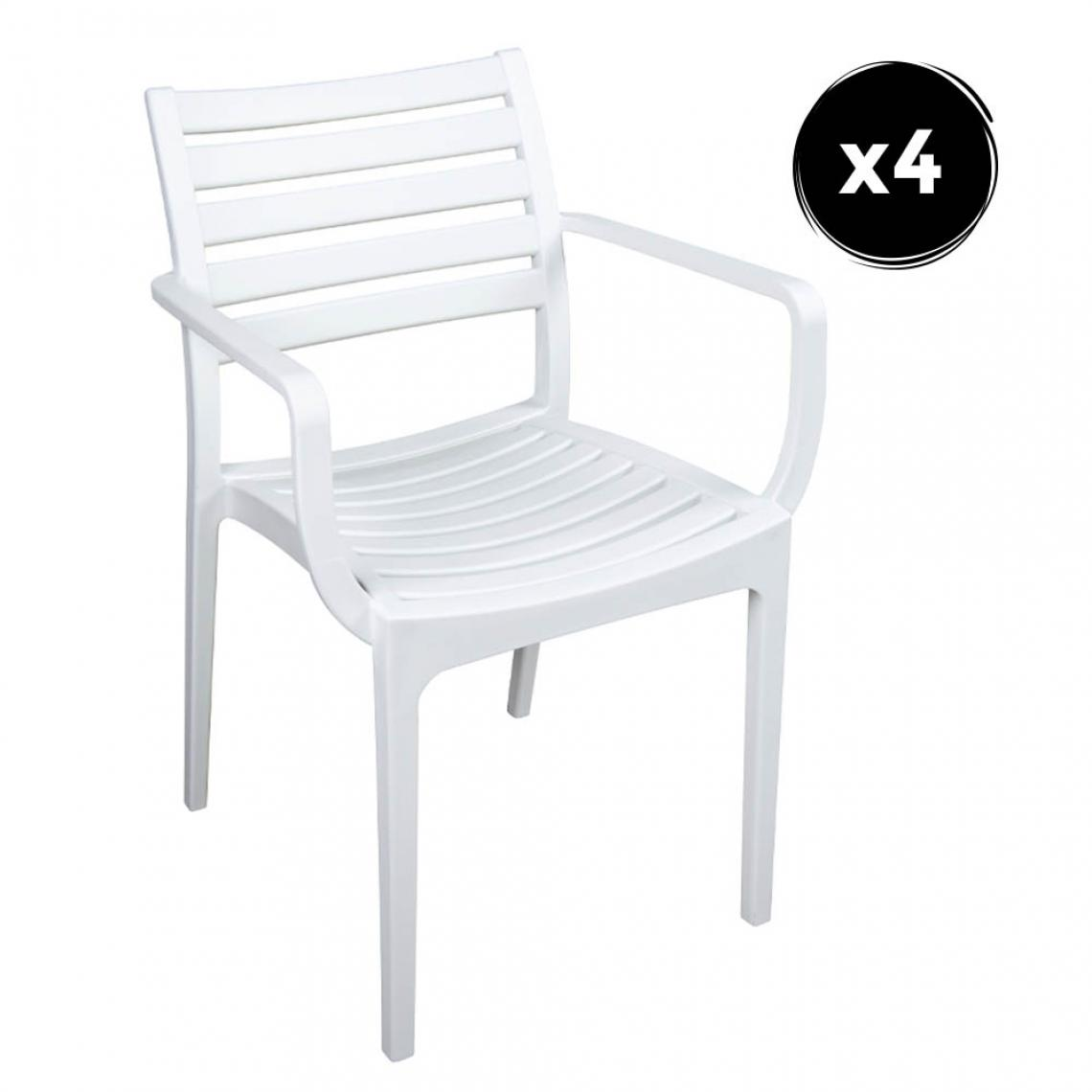 Imperial Relax Pack 4 Fauteuil Quebec Blanc Polipropilene