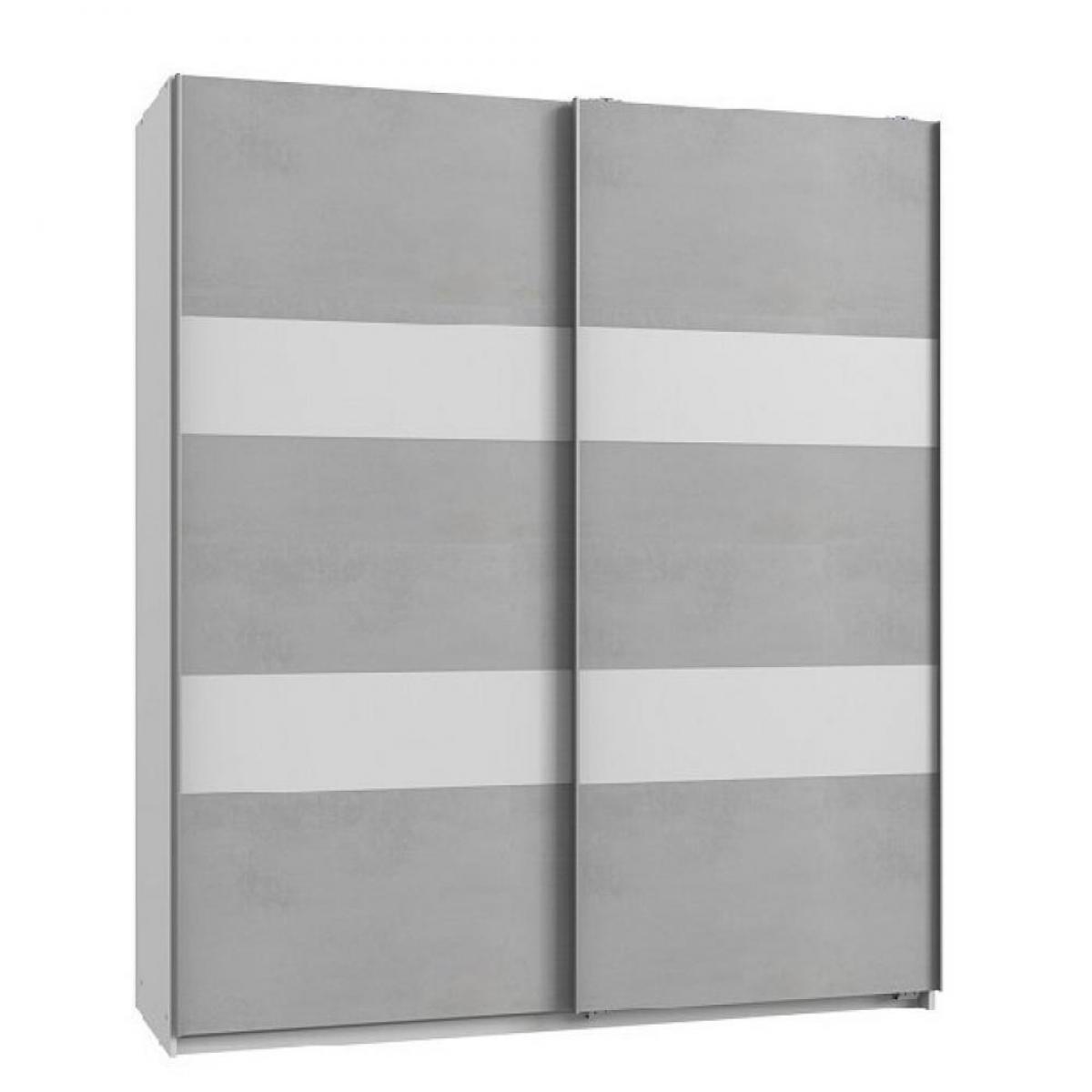 Inside 75 Armoire de rangement AUDE portes coulissantes 135 cm béton gris clair rechampis blanc