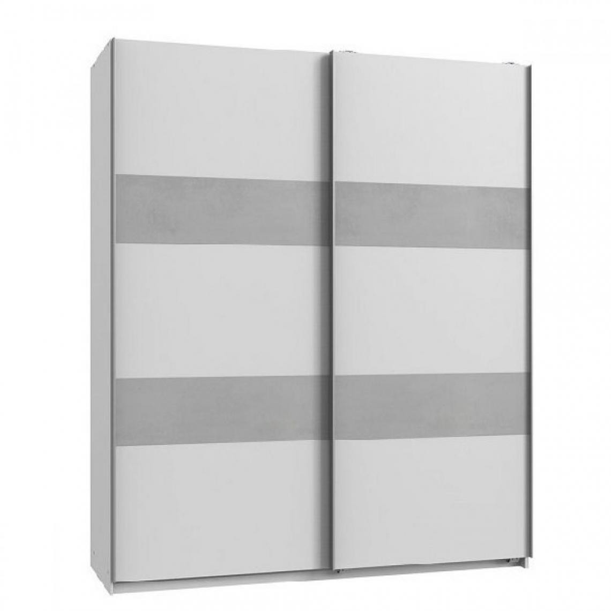 Inside 75 Armoire de rangement AUDE portes coulissantes 135 cm blanc rechampis béton gris clair