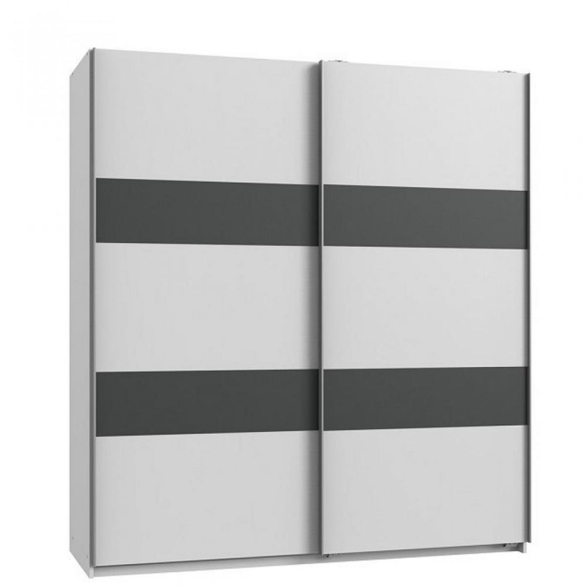 Inside 75 Armoire de rangement AUDE portes coulissantes 135 cm blanc rechampis graphite