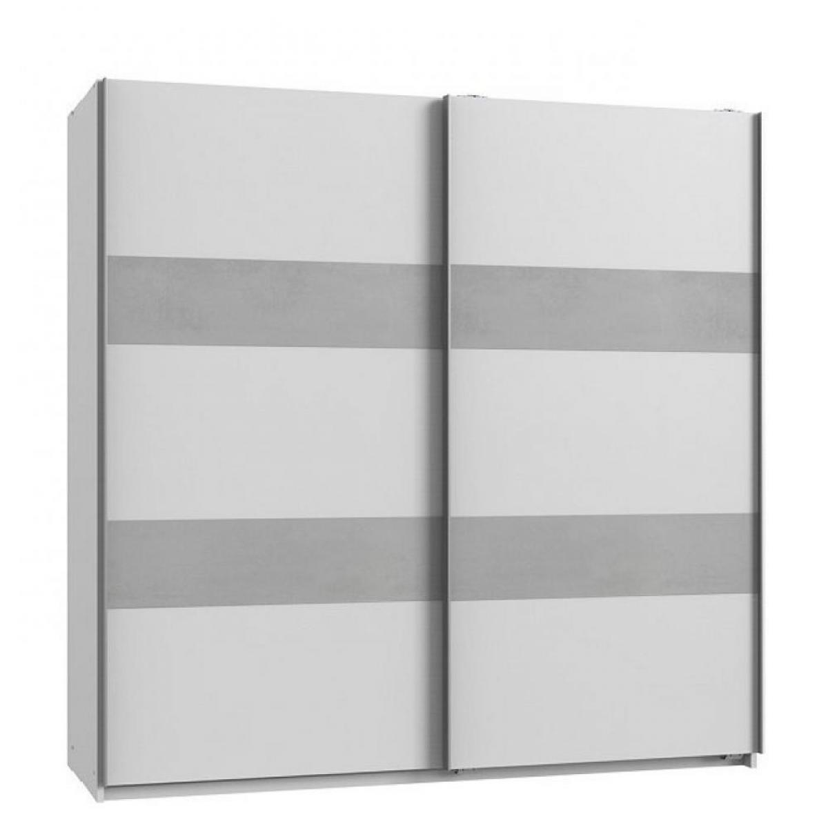 Inside 75 Armoire de rangement AUDE portes coulissantes 179 cm blanc mat rechampis béton gris clair