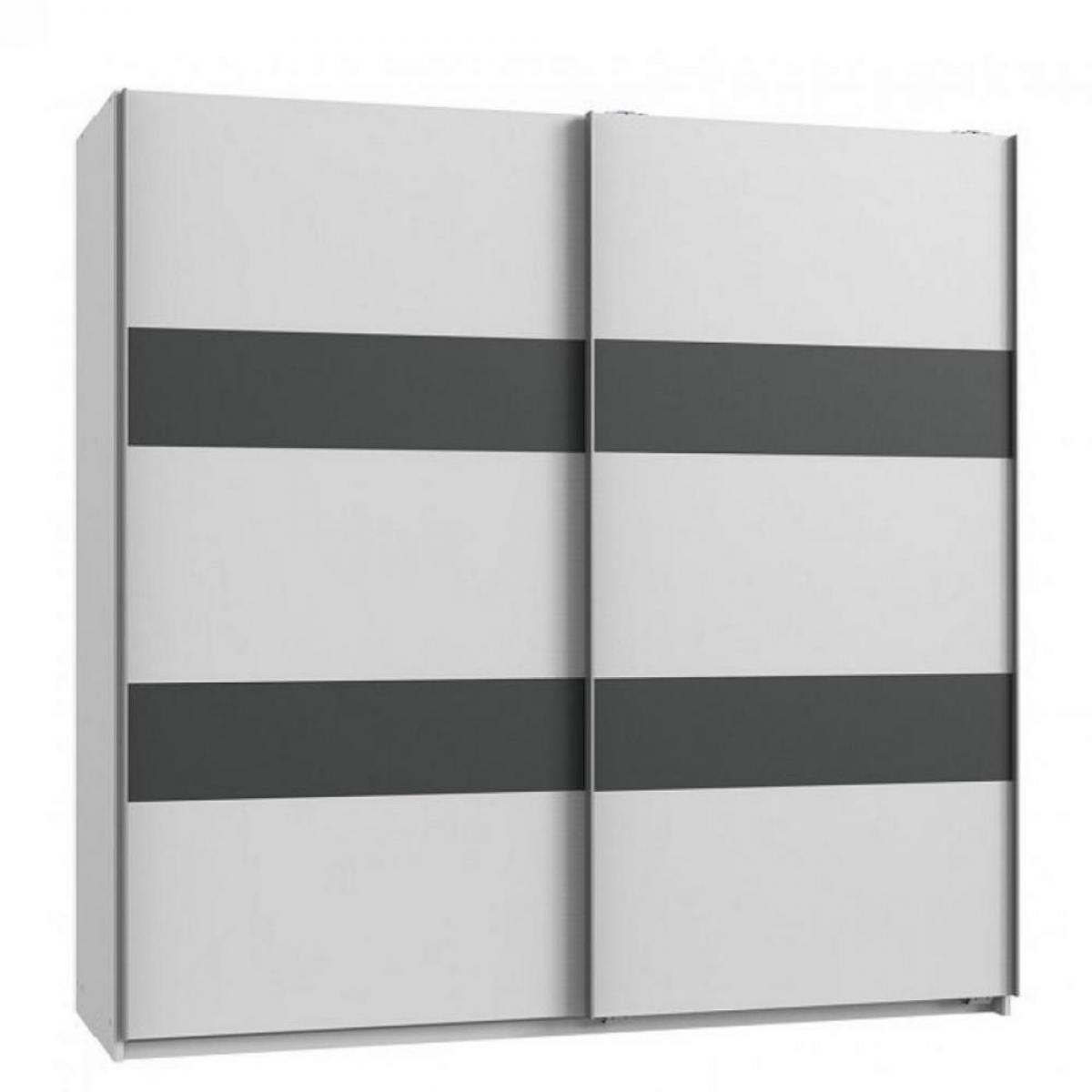 Inside 75 Armoire de rangement AUDE portes coulissantes 179 cm blanc mat rechampis graphite