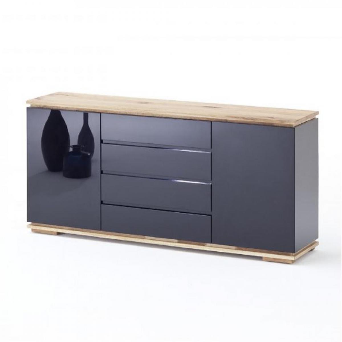 Inside 75 Buffet CHARLY 2 portes 4 tiroirs laqué noir brillant plateau et socle chêne noueux huilé