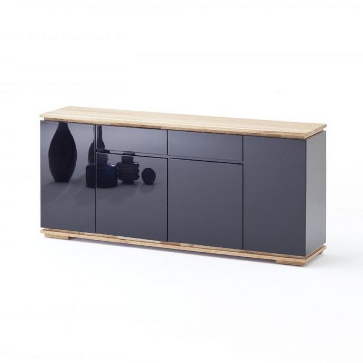 Inside 75 Buffet CHARLY 4 portes 2 tiroirs laqué noir brillant plateau et socle chêne noueux