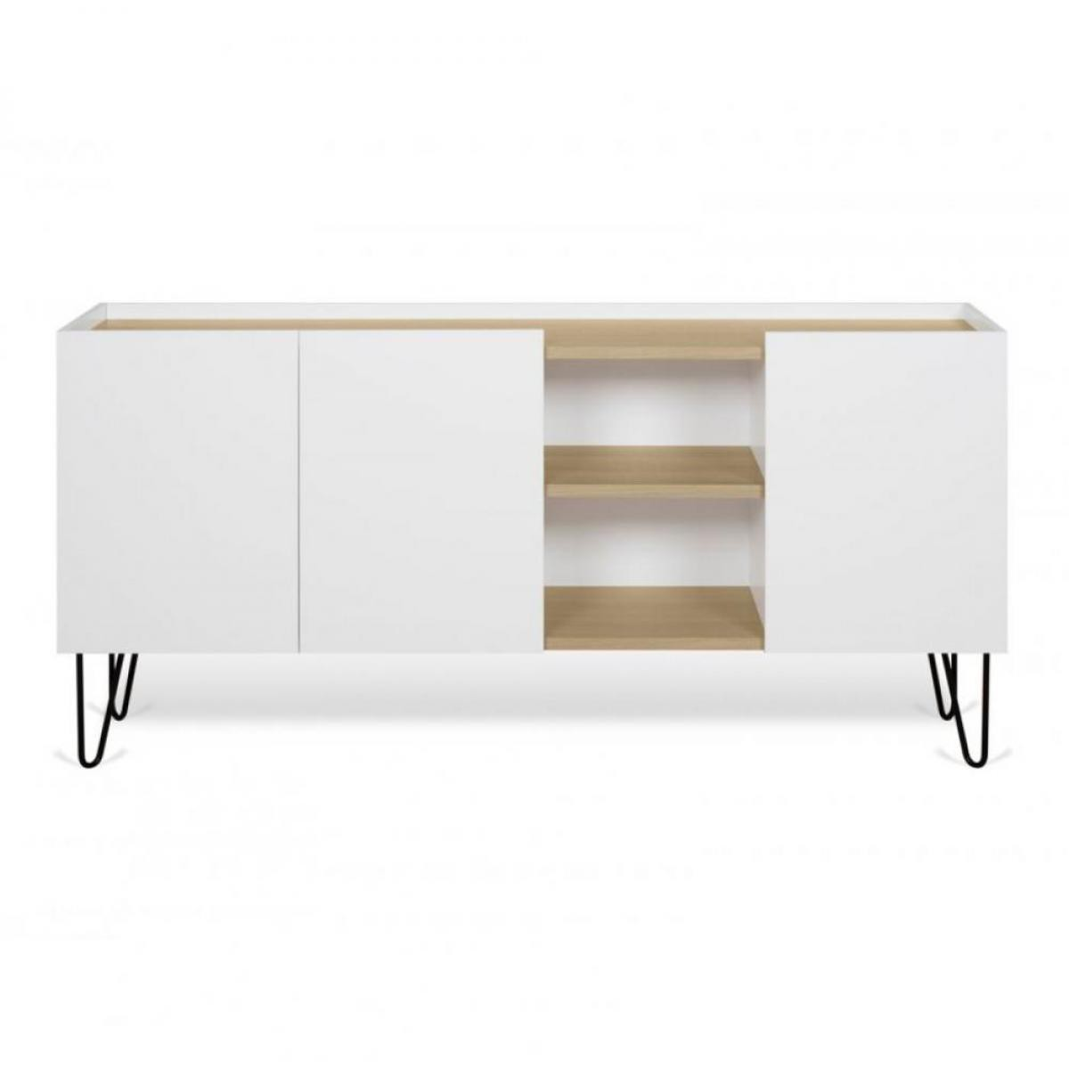 Inside 75 Buffet design NINA Chêne clair et blanc 180cm