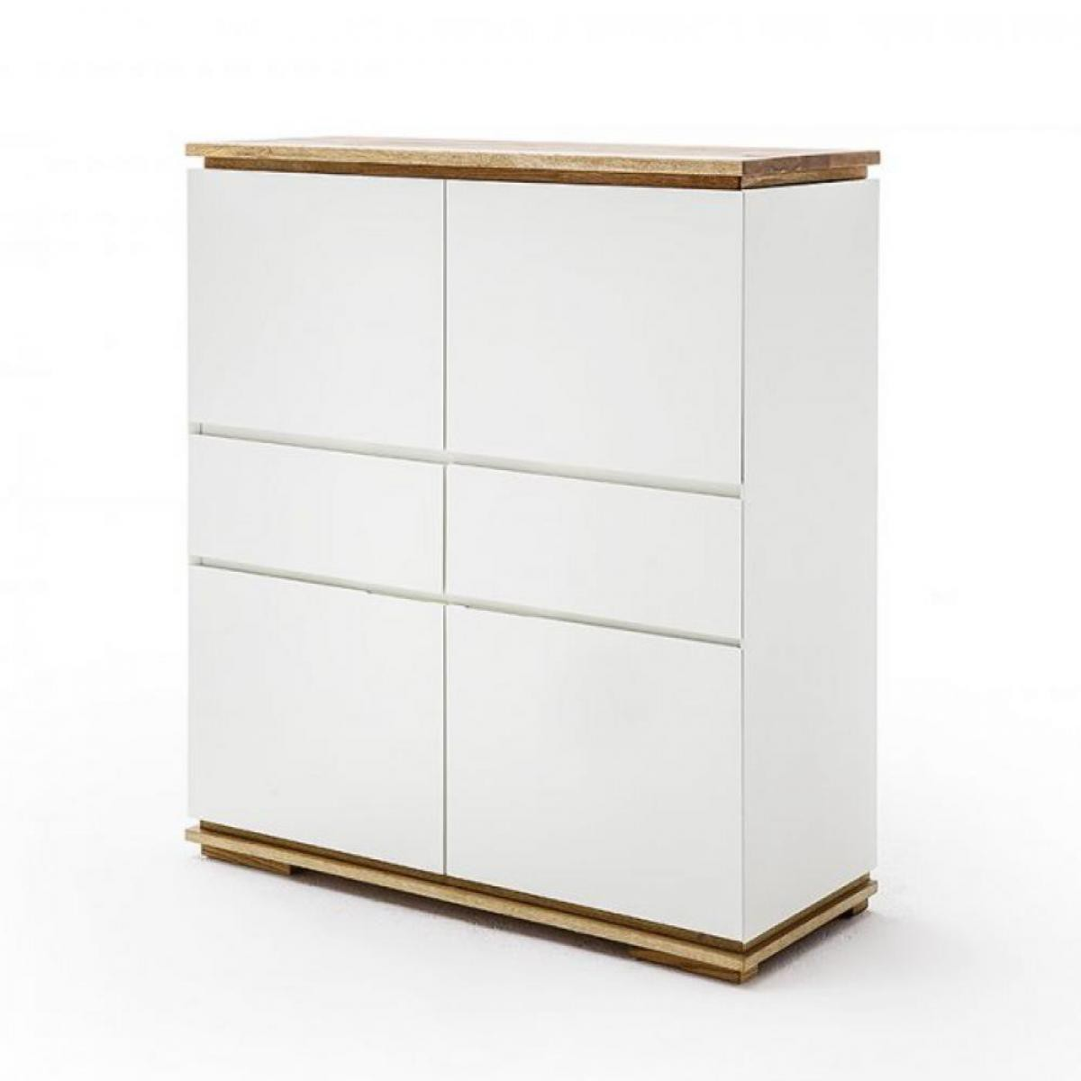 Inside 75 Buffet haut CHARLY 4 portes 2 tiroirs laqué blanc mat socle et plateau chêne massif