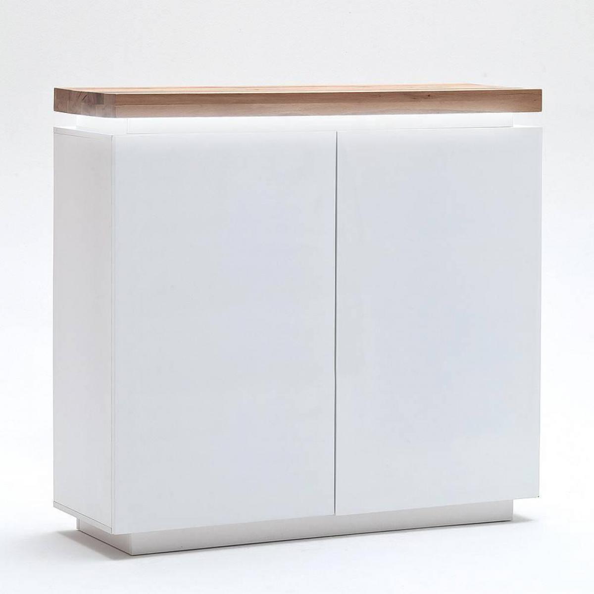 Inside 75 Buffet haut ROMINA 2 portes laqué blanc mat plateau chêne noueux huilé
