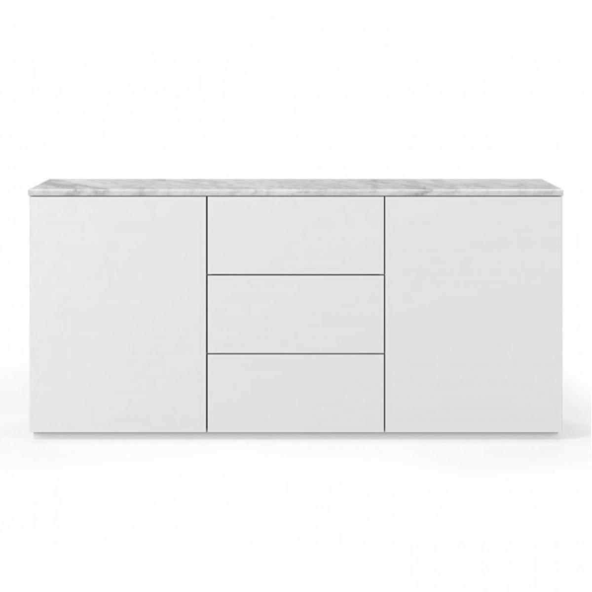 Inside 75 Buffet WHITY 2 blanc mat 180cm 2 portes/3 tiroirs Plateau en Marbre blanc