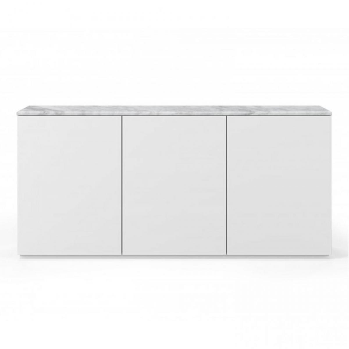 Inside 75 Buffet WHITY blanc mat 180cm 3 portes Plateau en Marbre blanc