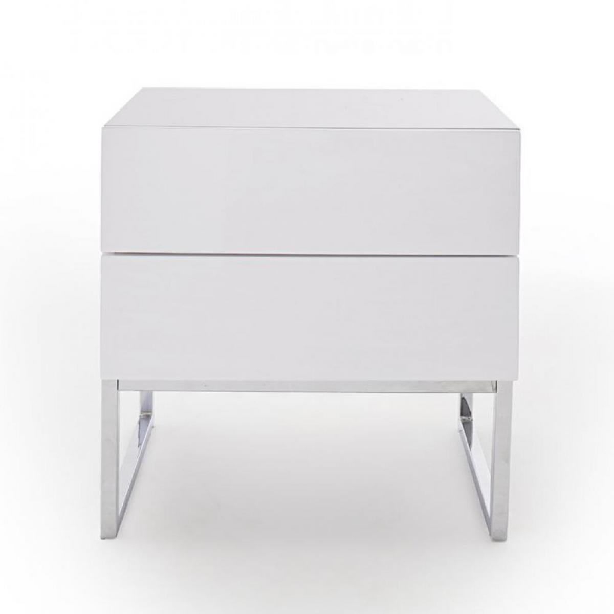 Inside 75 Chevet NOVO laqué blanc brillant pieds chromés 2 tiroirs