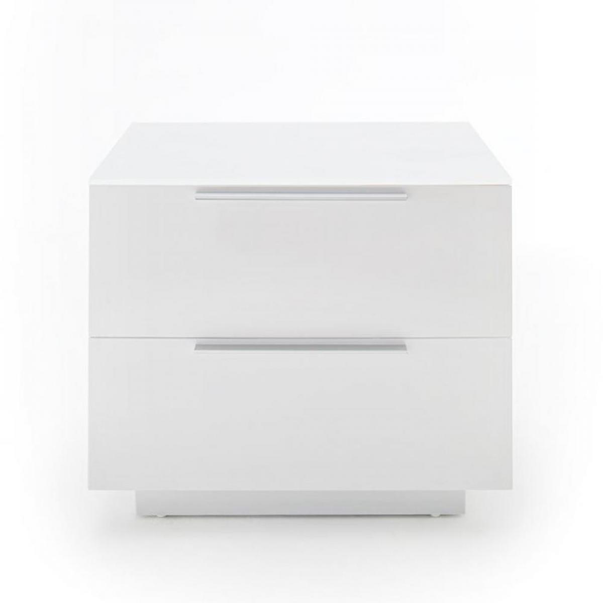 Inside 75 Chevet NOVO laqué blanc brillant plateau verre blanc 2 tiroirs