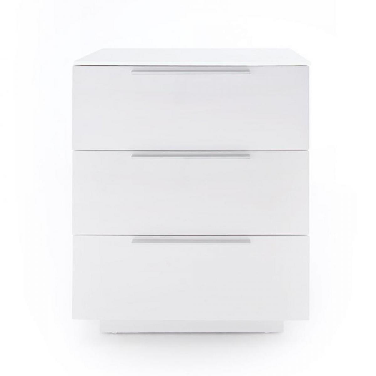 Inside 75 Chevet NOVO laqué blanc brillant plateau verre blanc 3 tiroirs