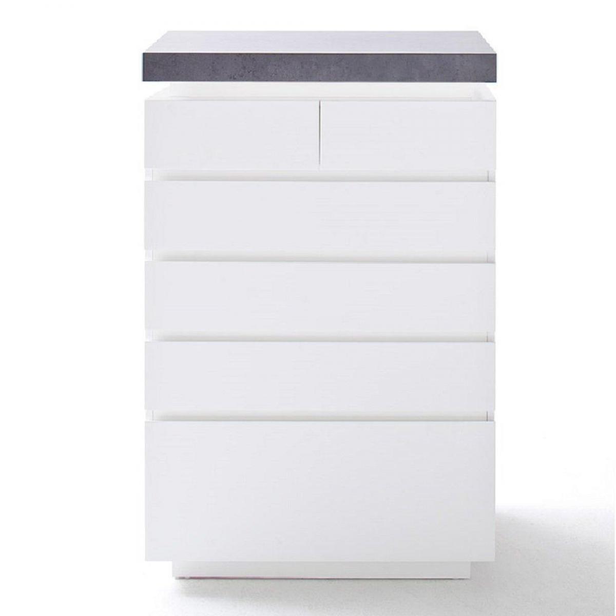 Inside 75 Chiffonnier ATLANTIC CITY 6 tiroirs blanc laqué mat avec plateau imitation béton