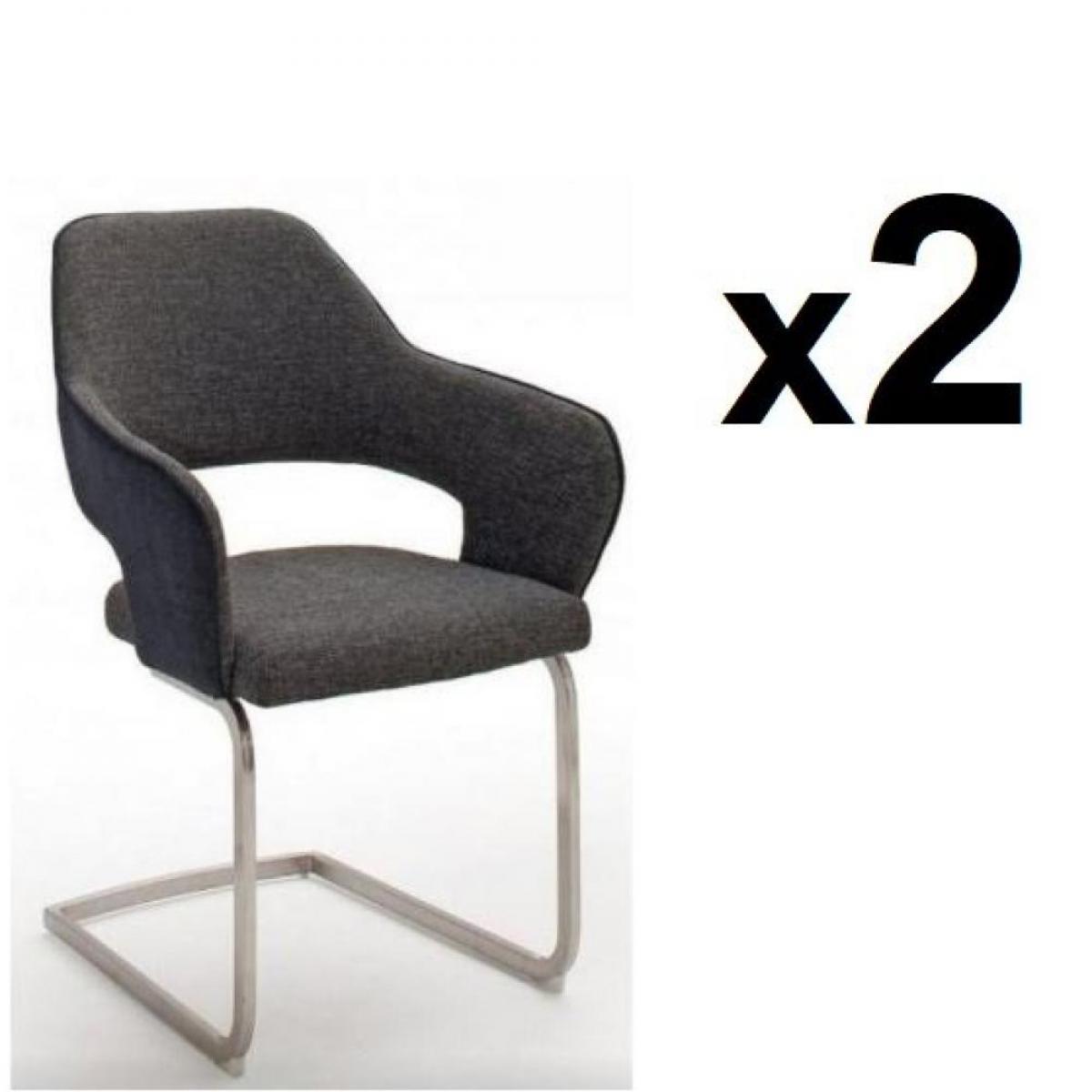 Inside 75 Lot de 2 chaises design NABAS tissu anthracite pieds luge acier brossé