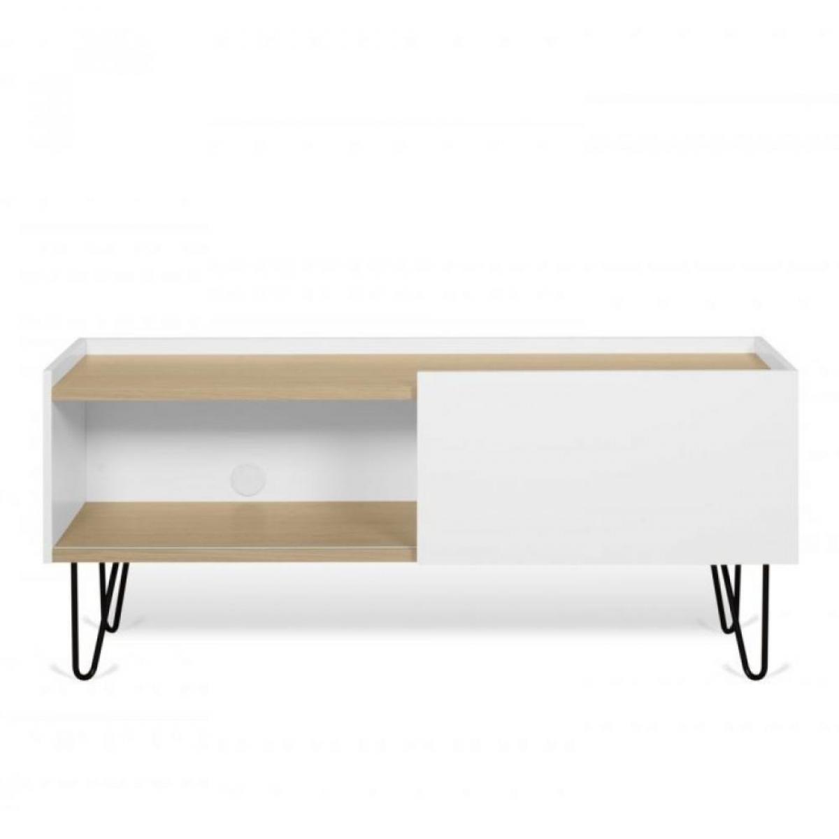 Inside 75 Meuble TV design NINA Chêne clair et blanc