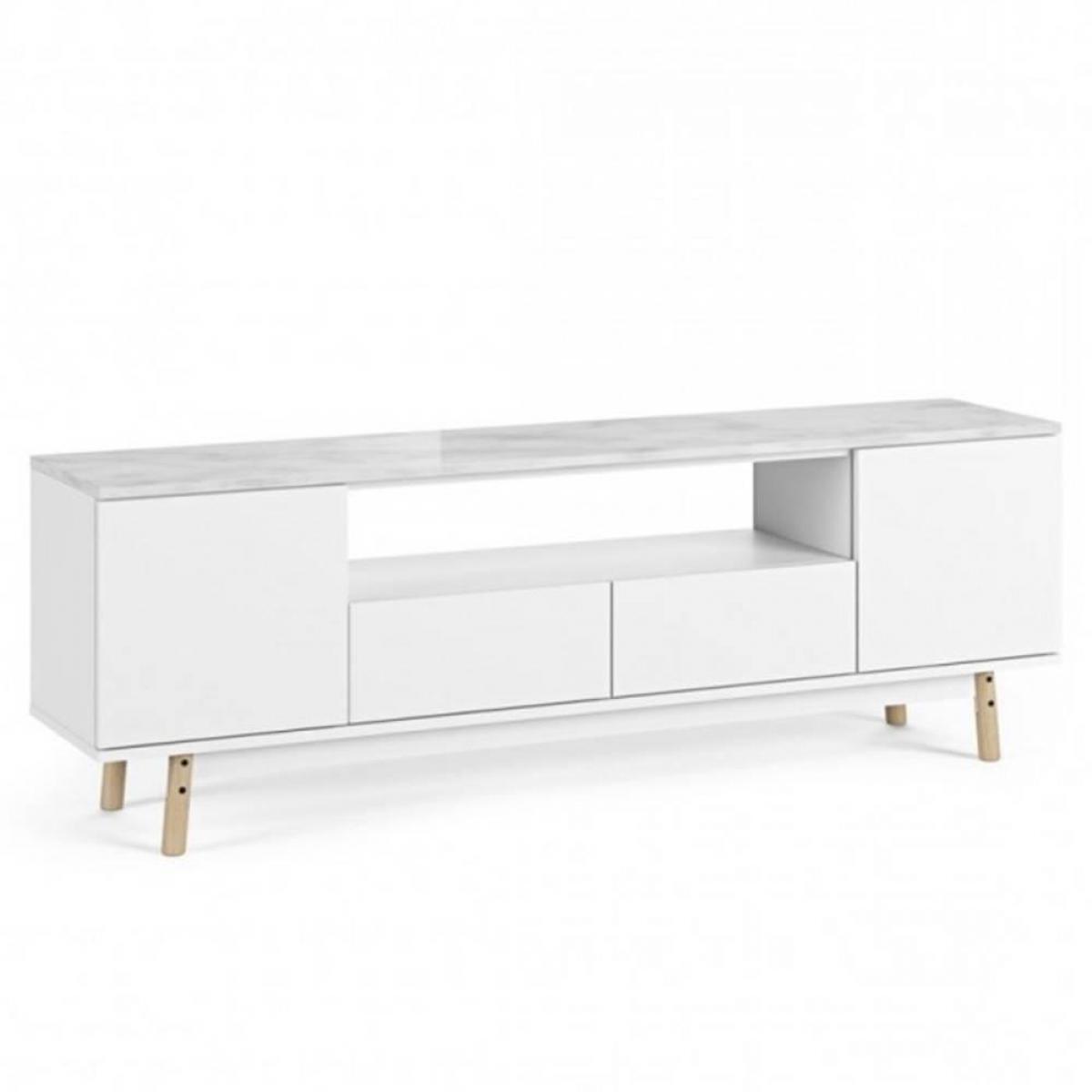 Inside 75 meuble TV LYON plateau marbre blanc pied chêne