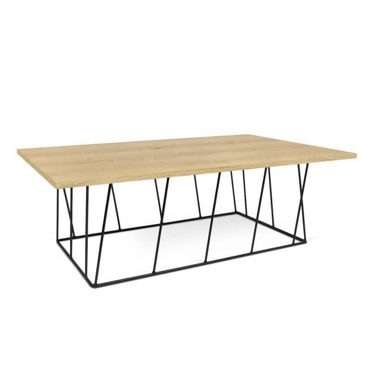 Inside 75 Table basse HELIX 120 plateau chêne structure laquée noir mat.