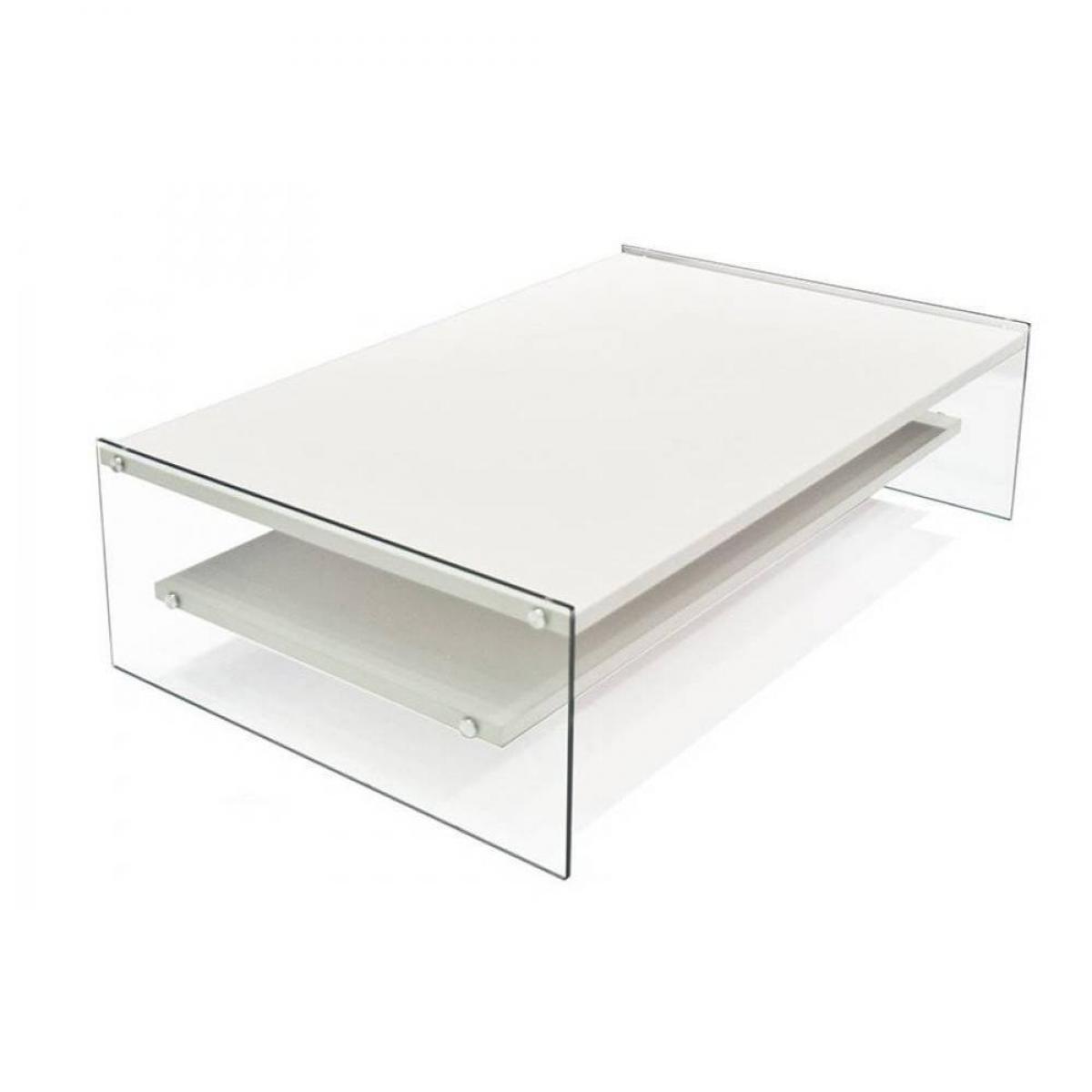 Inside 75 Table basse rectangle BELLA 2 plateaux blanc mat piétement en verre