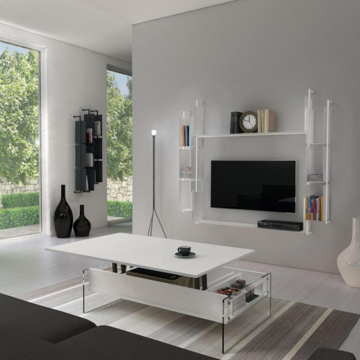 Inside 75 Table basse relevable Blanc Mat BELLA 110x70cm piétement en verre