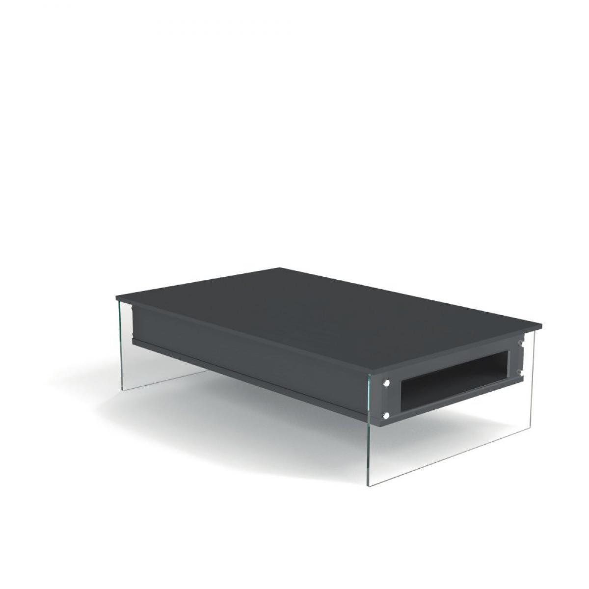 Inside 75 Table basse relevable gris ardoise BELLA 110x70cm piétement en verre