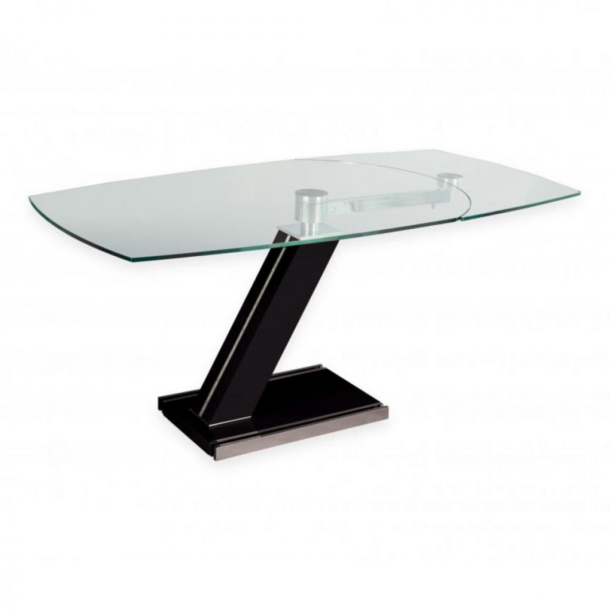 Inside 75 Table de repas extensible ZEBRA BLACK plateau en verre Piétement laqué NOIR BRILLANT