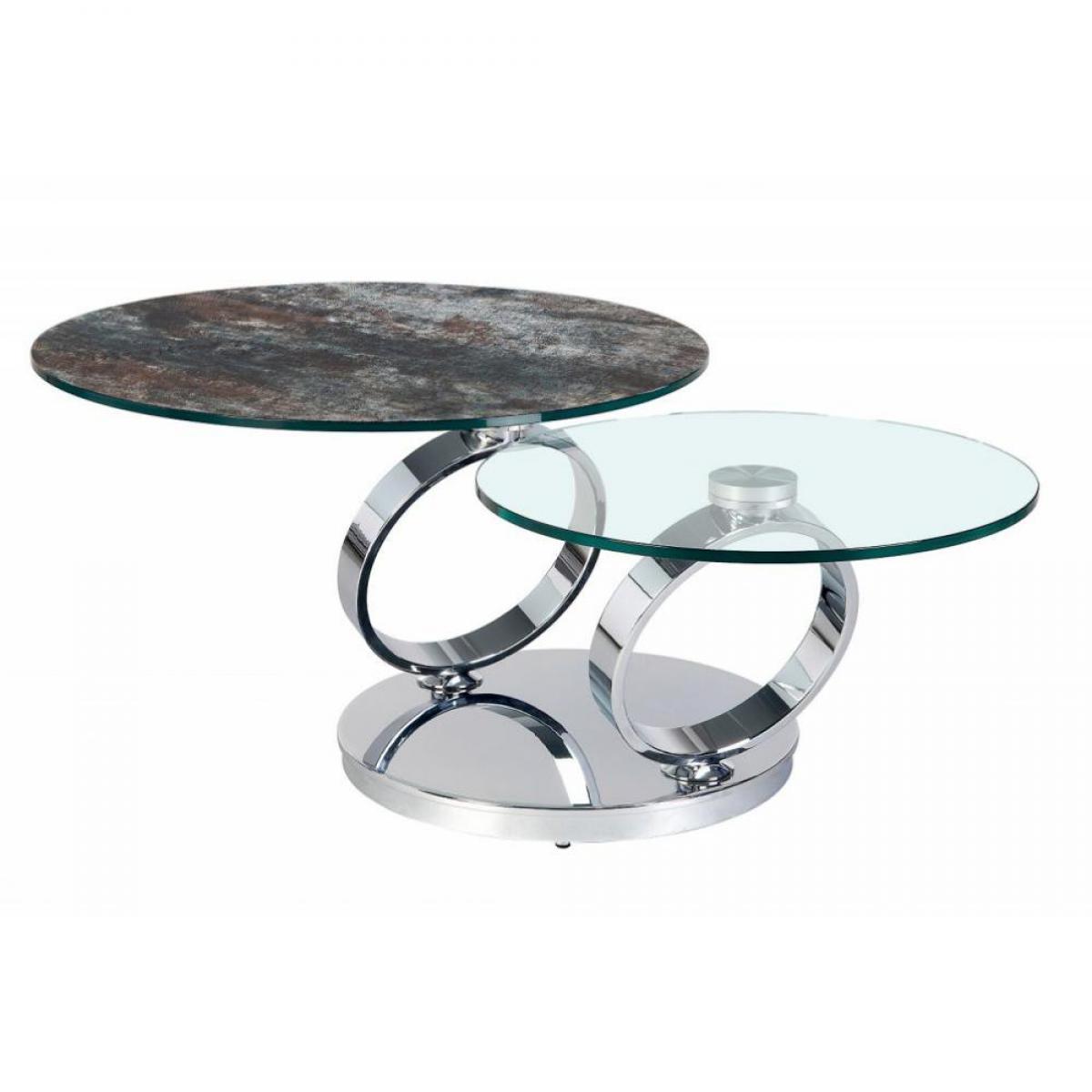 Inside 75 Table OLYMPE à plateaux pivotants en verre et céramique ANTHRACITE