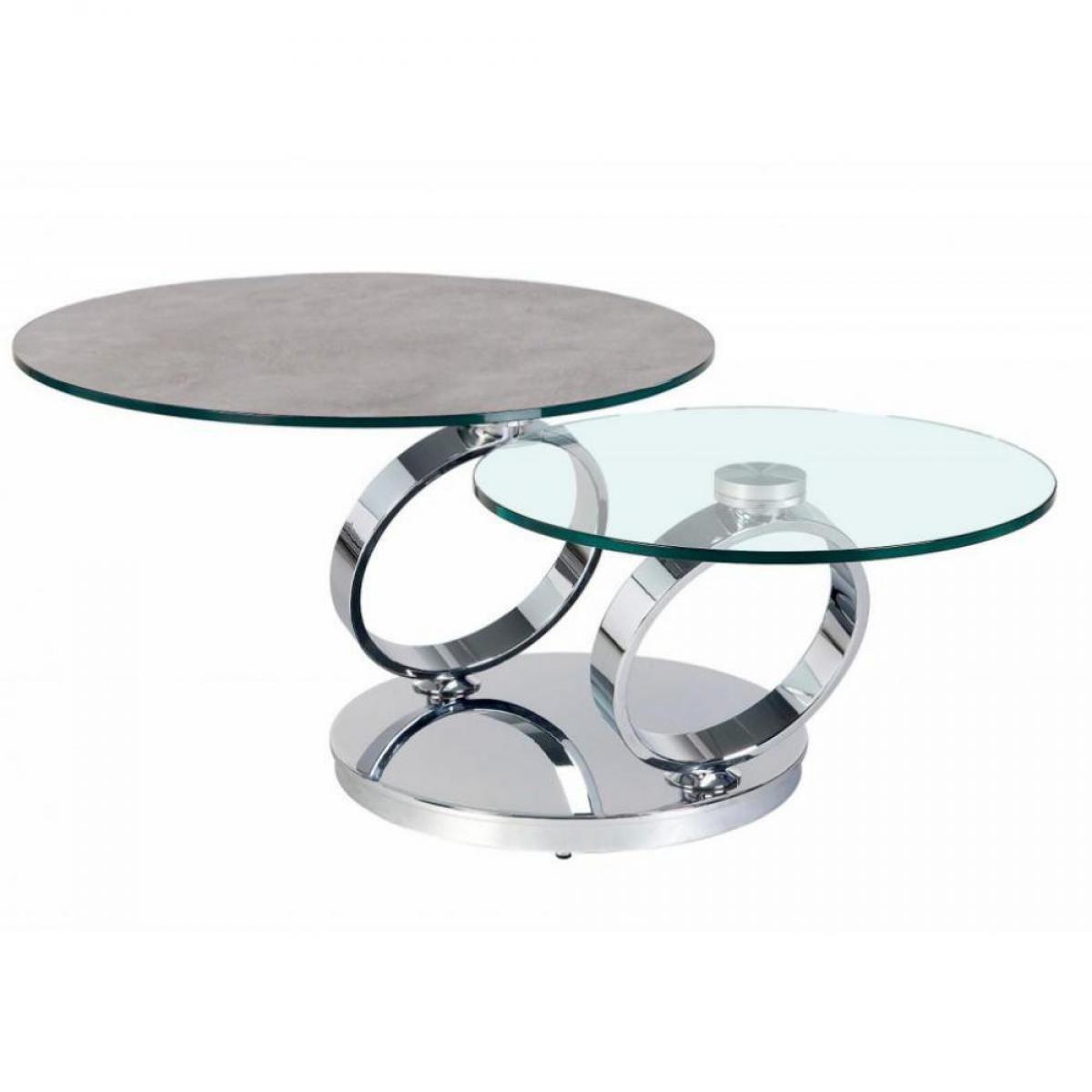 Inside 75 Table OLYMPE à plateaux pivotants en verre et céramique CIMENT