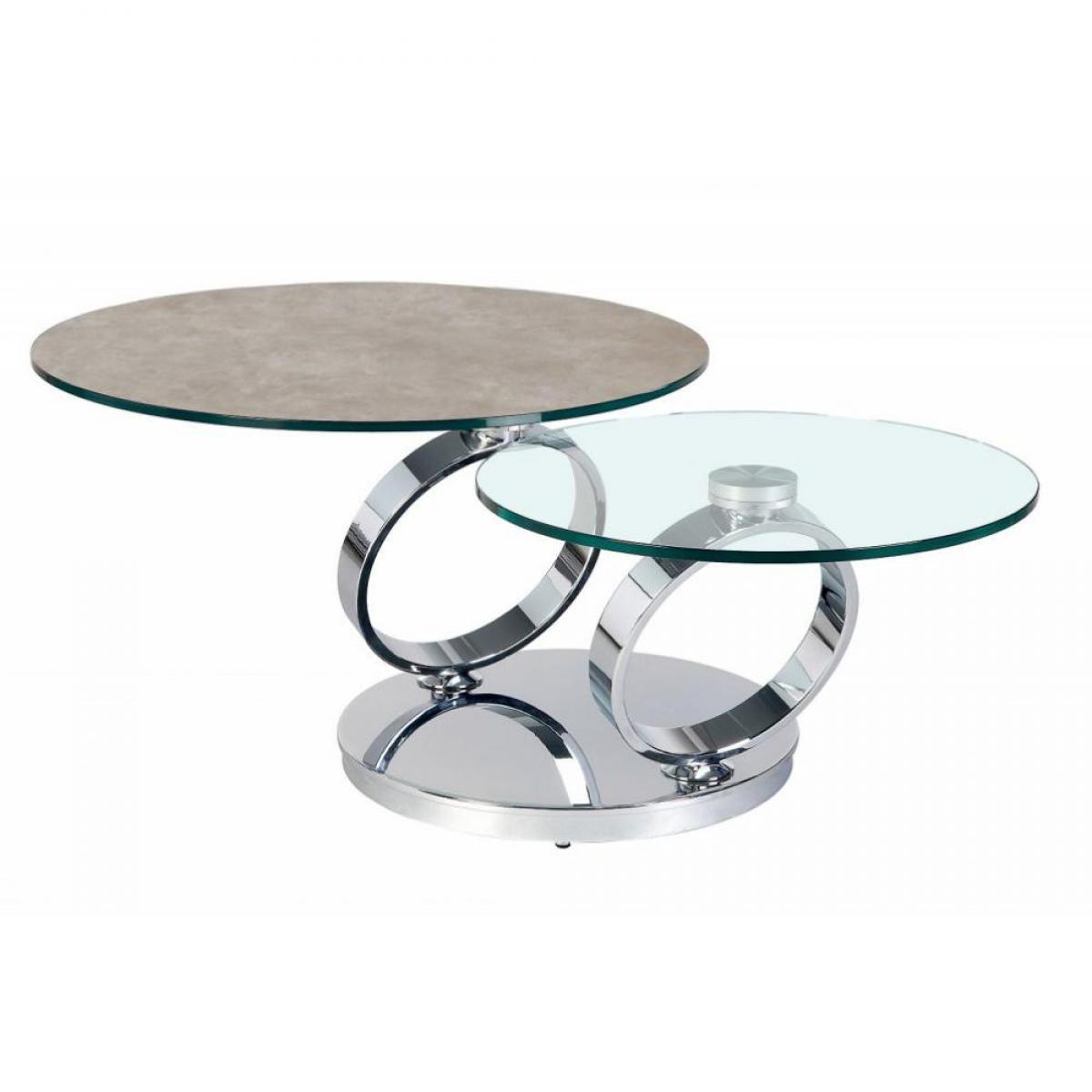Inside 75 Table OLYMPE à plateaux pivotants en verre et céramique GRIS