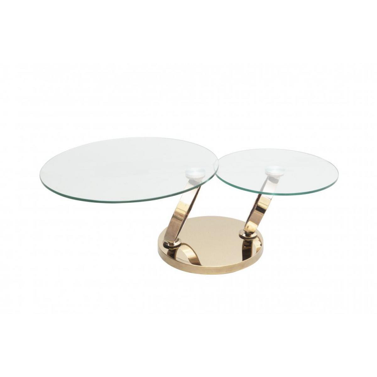 Inside 75 Table OLYMPE à plateaux pivotants en verre et piètement acier Chromé finition Dorée