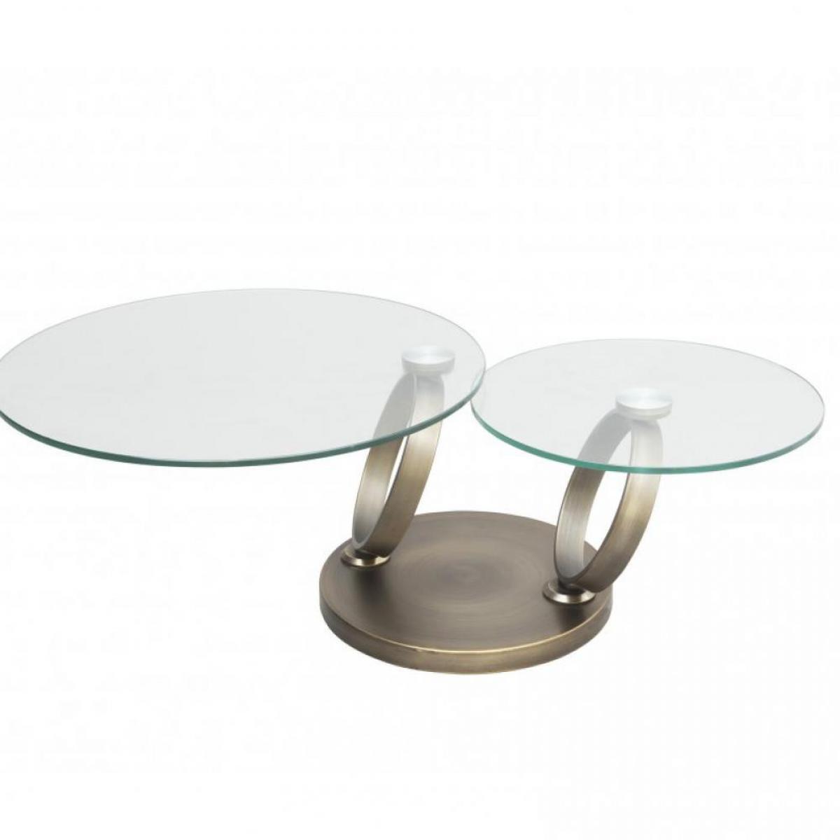 Inside 75 Table OLYMPE à plateaux pivotants en verre et piètement BRONZE