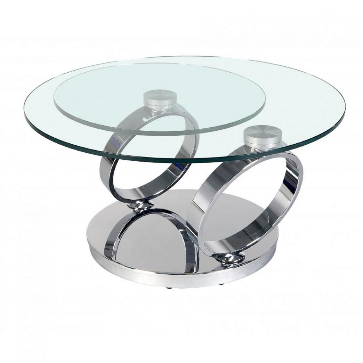 Inside 75 Table OLYMPE à plateaux pivotants en verre et piètement CHROME
