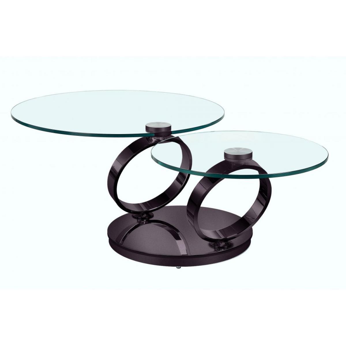 Inside 75 Table OLYMPE à plateaux pivotants en verre et piètement NOIR nickel