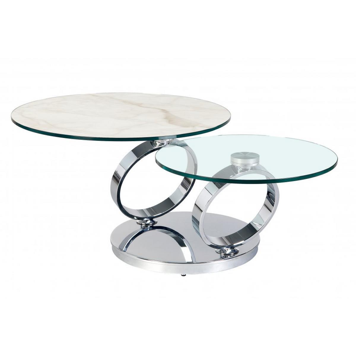 Inside 75 Table OLYMPE MARBLE à plateaux pivotants en verre et céramique marbre blanc