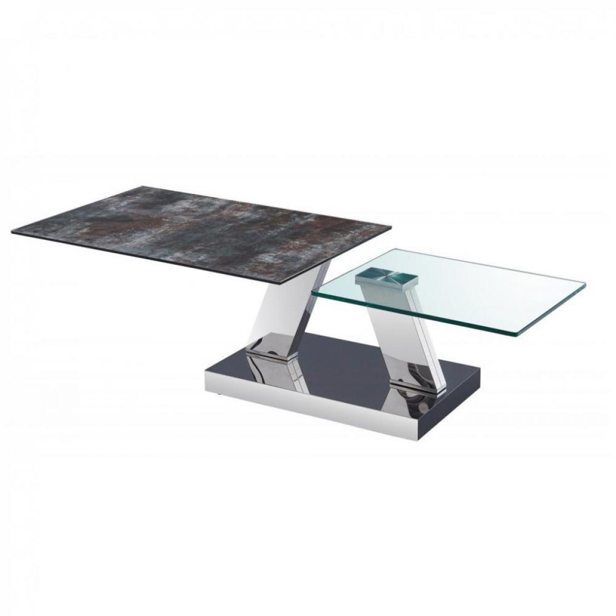 Inside 75 Table OPEN à doubles plateaux pivotants en verre trempé et céramique ANTHRACITE
