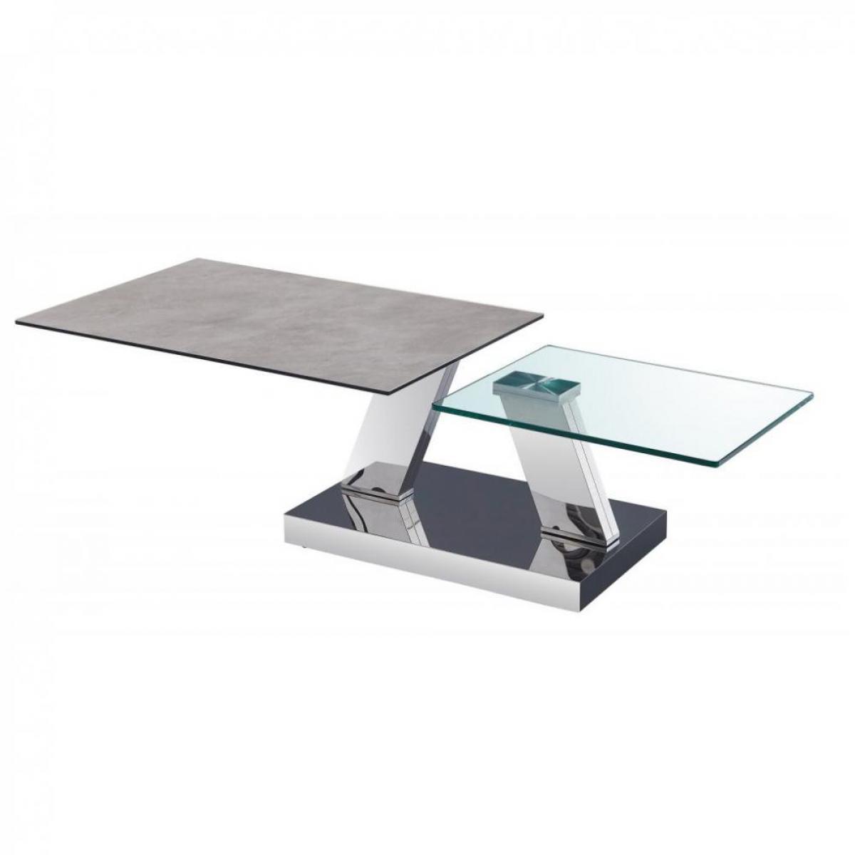 Inside 75 Table OPEN à doubles plateaux pivotants en verre trempé et céramique CIMENT
