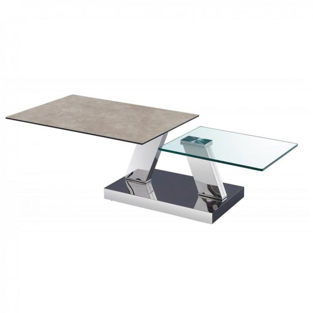 Inside 75 Table OPEN à doubles plateaux pivotants en verre trempé et céramique GRIS