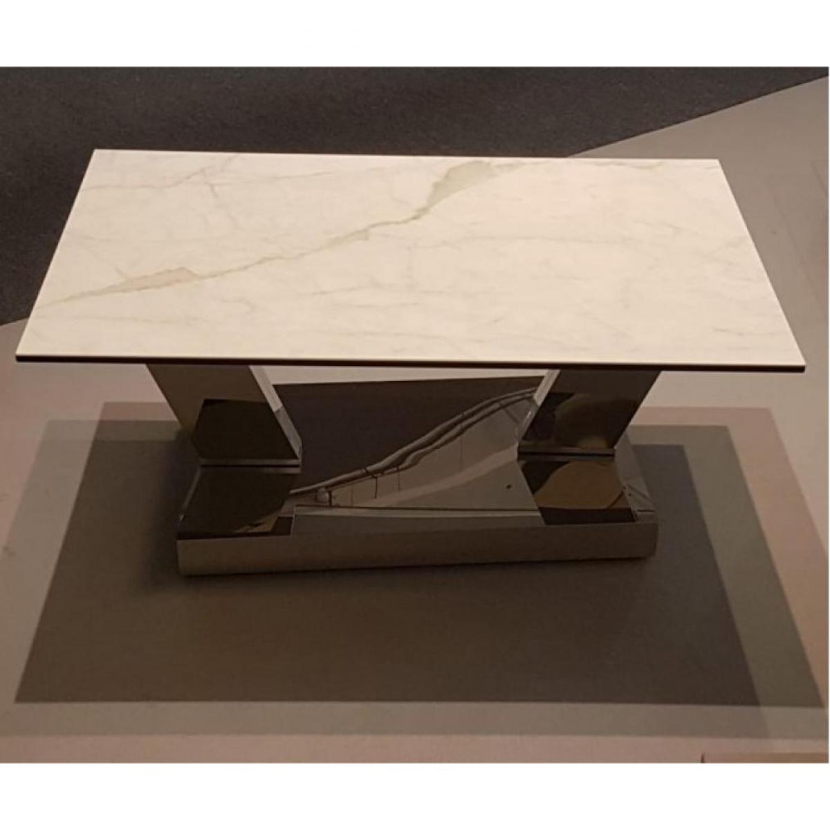 Inside 75 Table OPEN à doubles plateaux pivotants en verre trempé et céramique marbre blanc