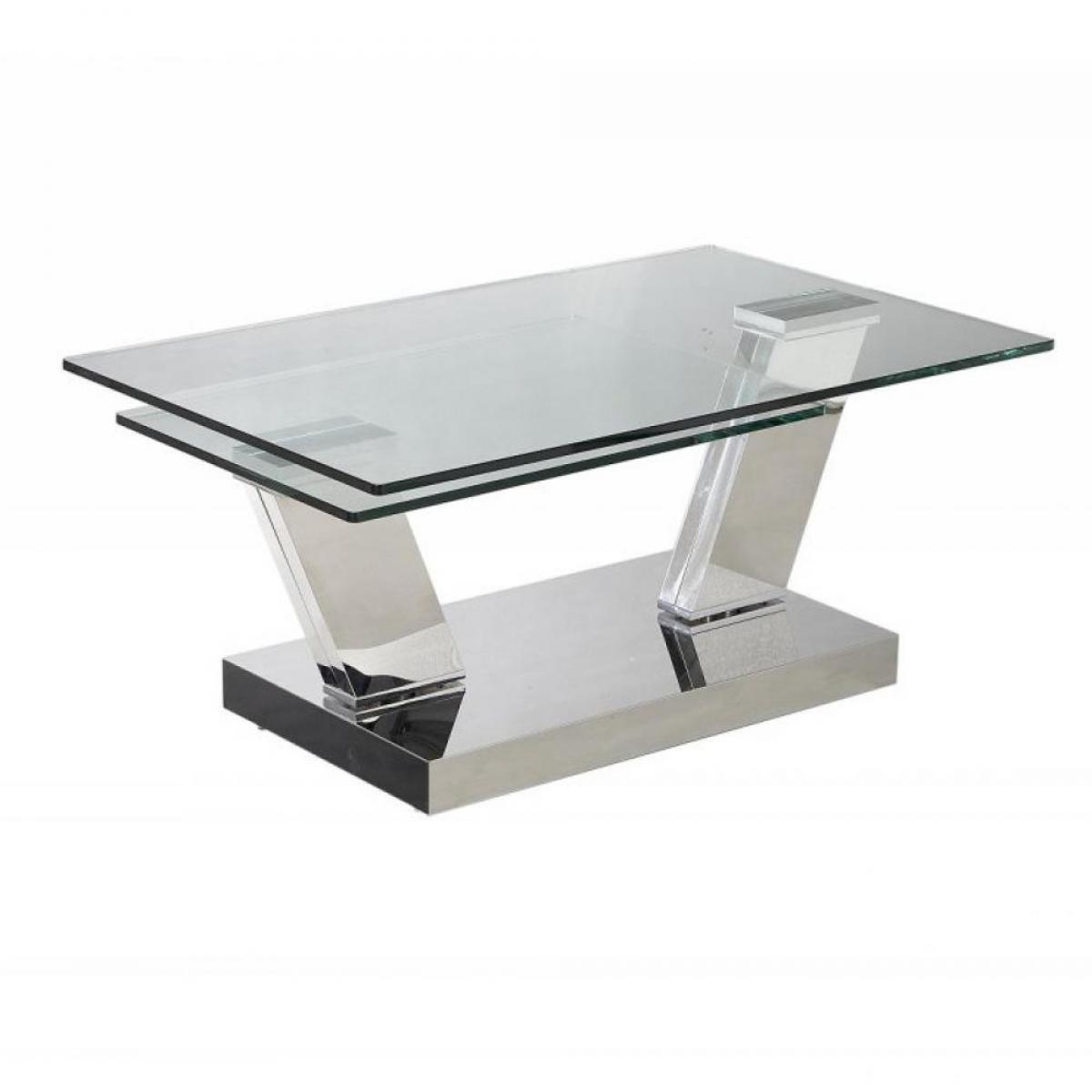 Inside 75 Table OPEN à plateaux pivotants en verre trempé et piétement CHROME