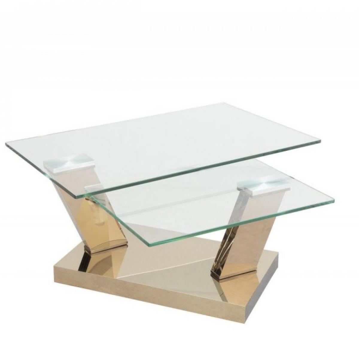 Inside 75 Table OPEN COOPER à plateaux pivotants en verre trempé et piétement couleur CUIVRE