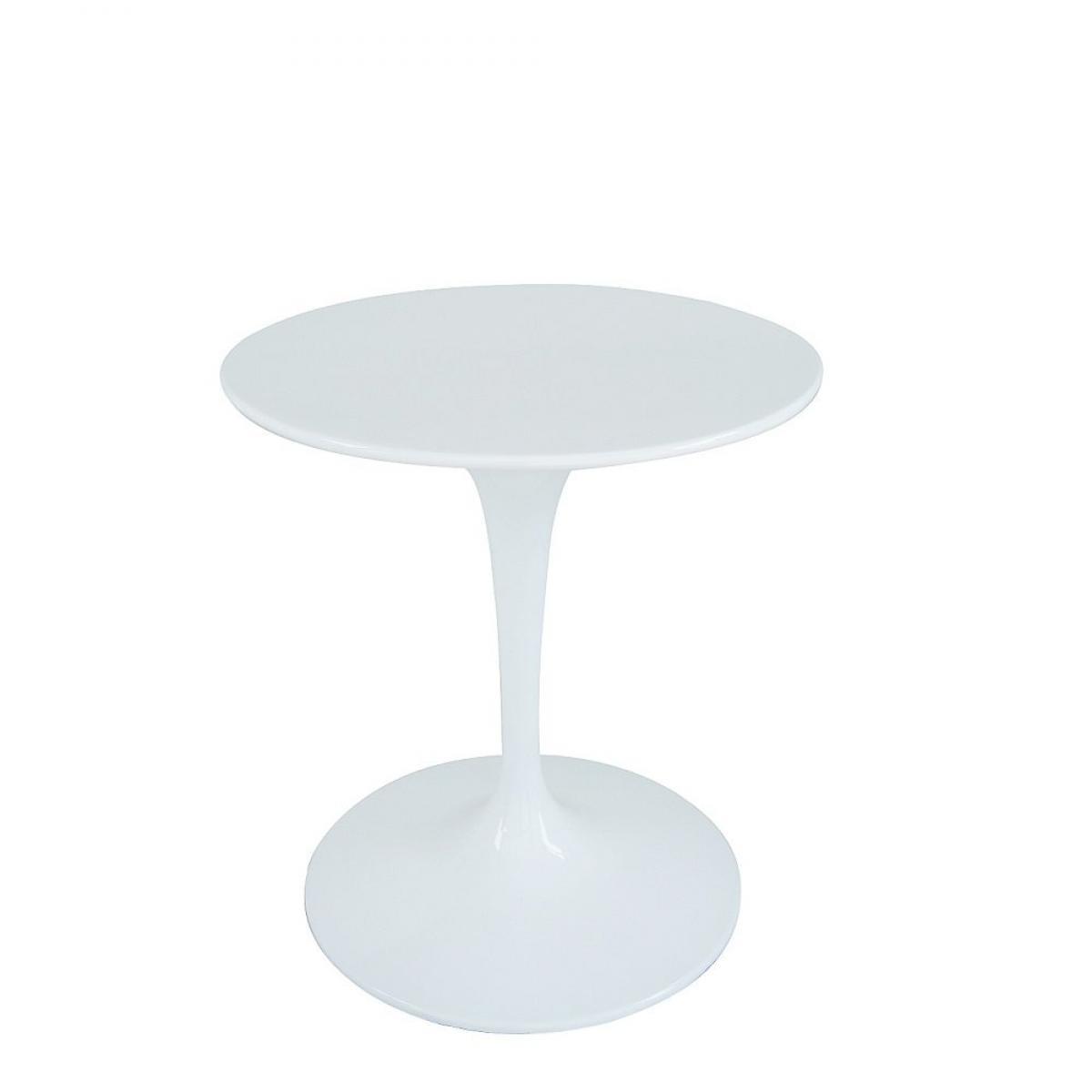 Inside 75 Table ronde de repas design TULIPE laquée blanc 60 cm.