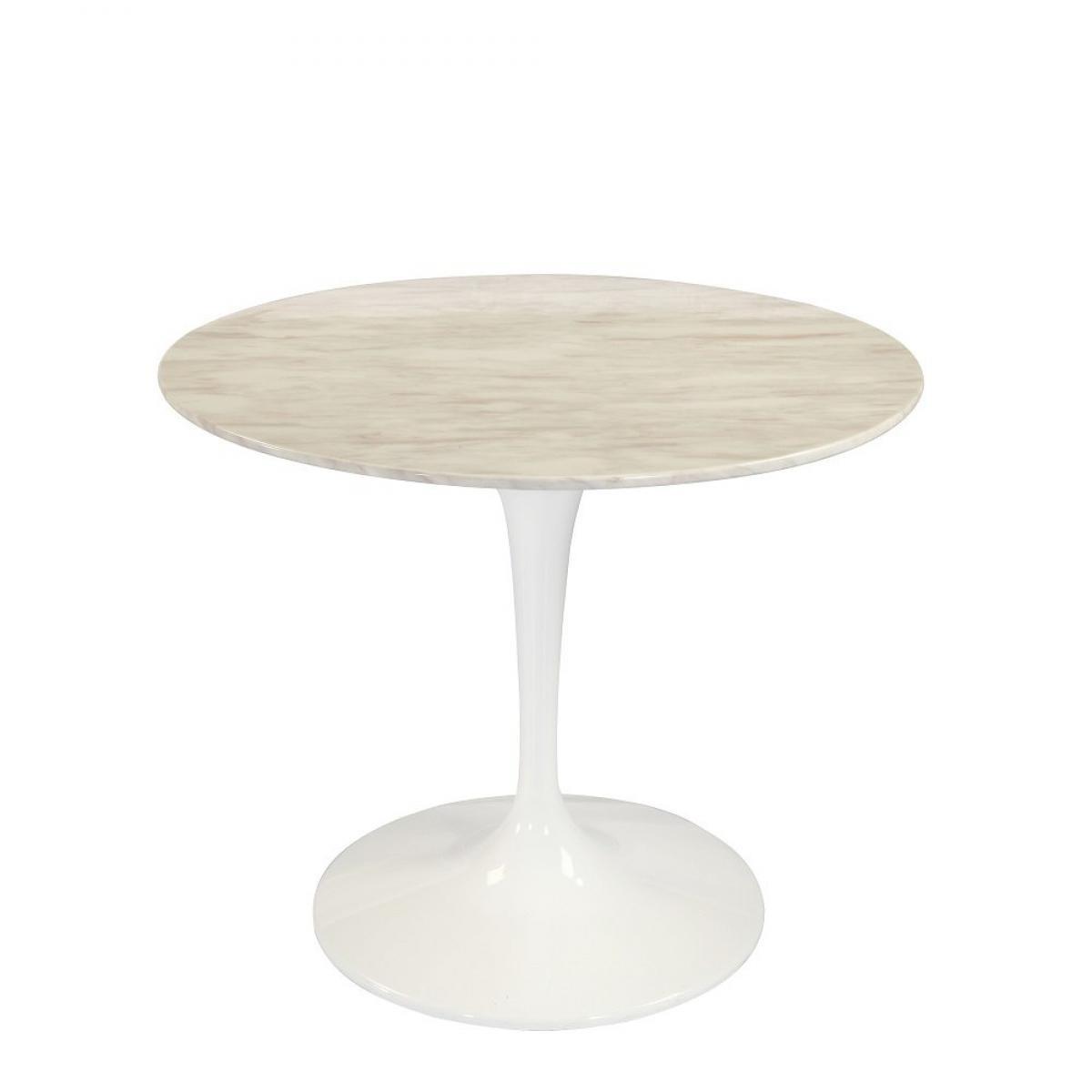 Inside 75 Table ronde de repas design TULIPE plateau en marbre gris beige 90 cm.
