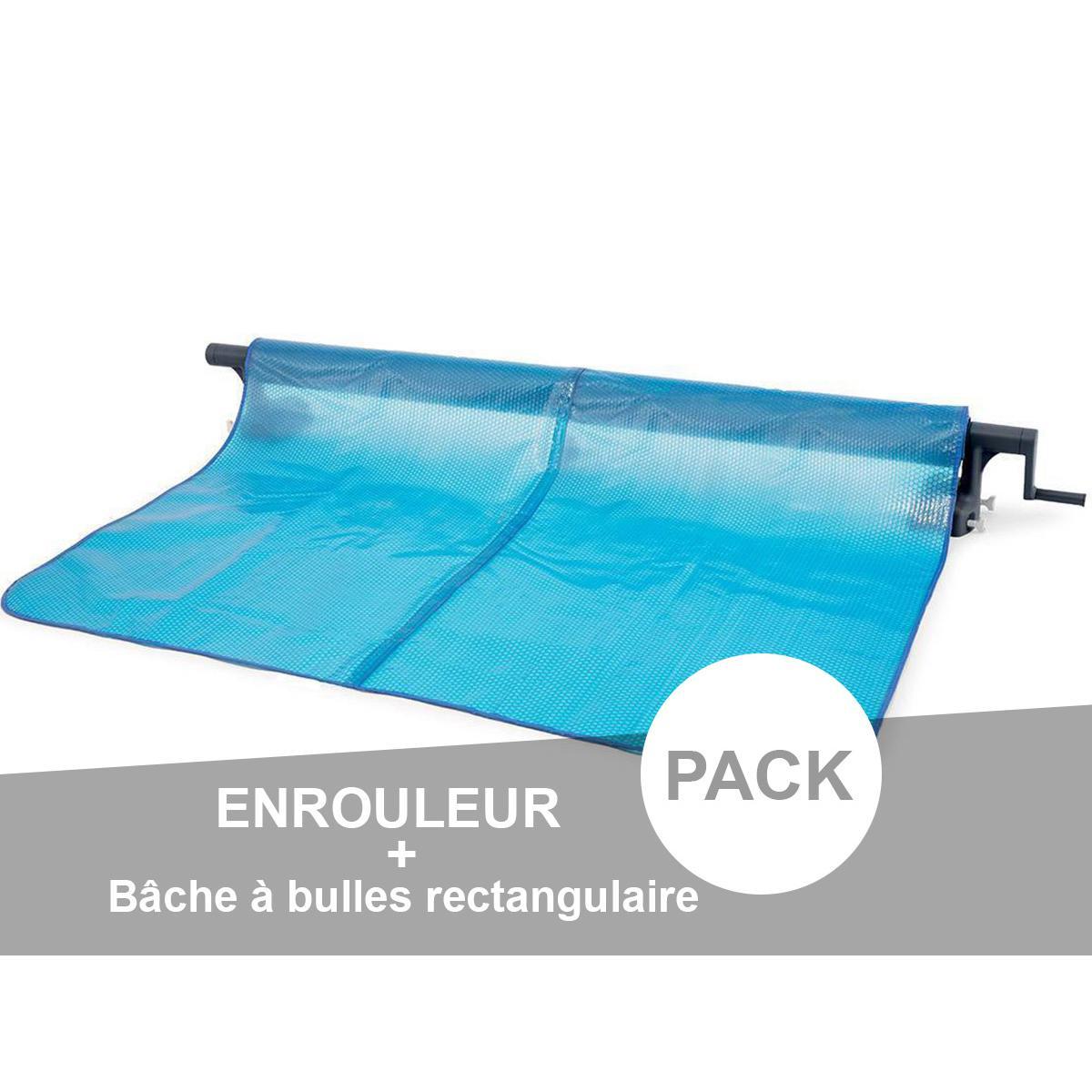 Intex Enrouleur + Bâche à bulles pour piscine tubulaire rectangulaire 5,49 x 2,74 m - Intex