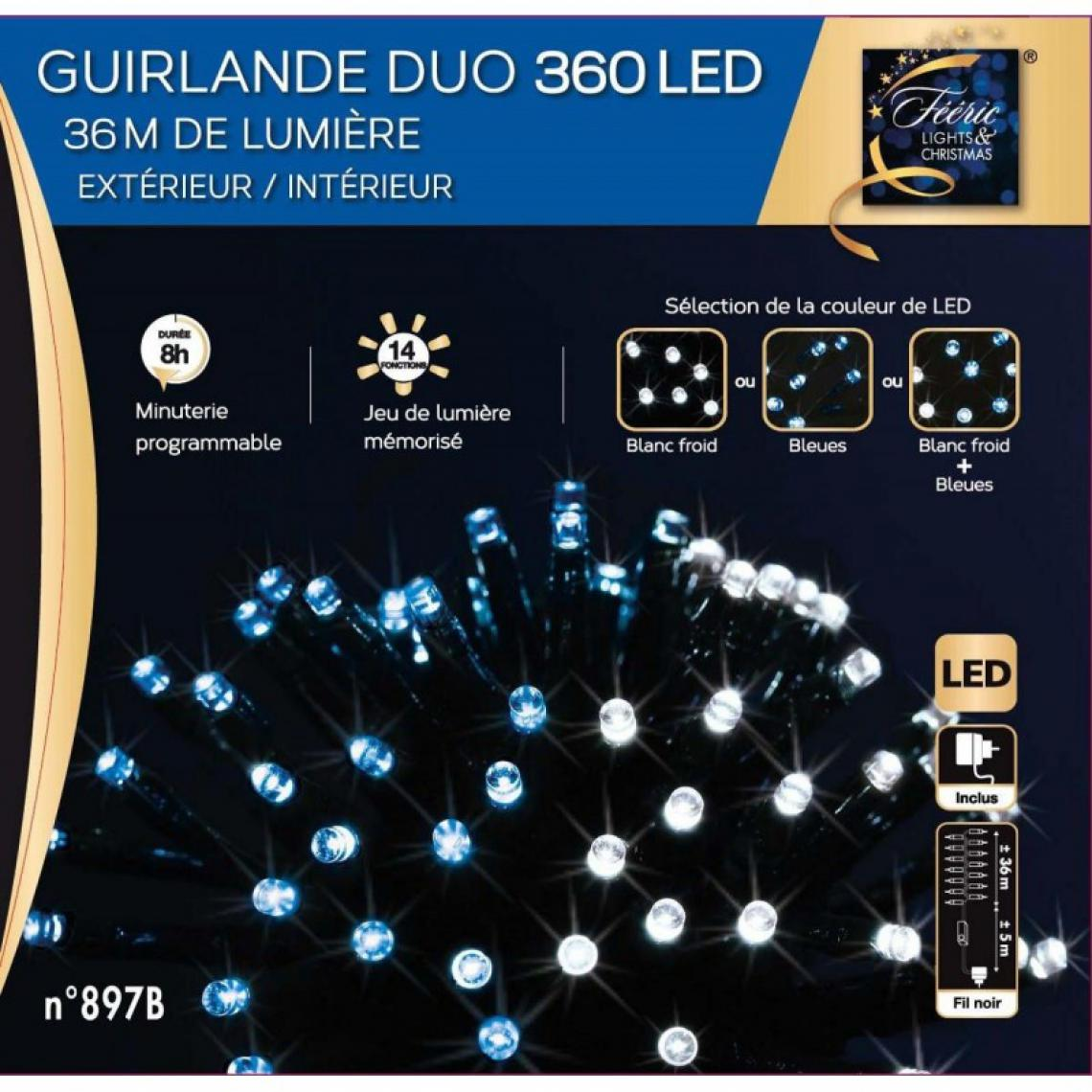 Jardideco Guirlande de Noël extérieur Duo LED 36 m Blanc froid / Bleu