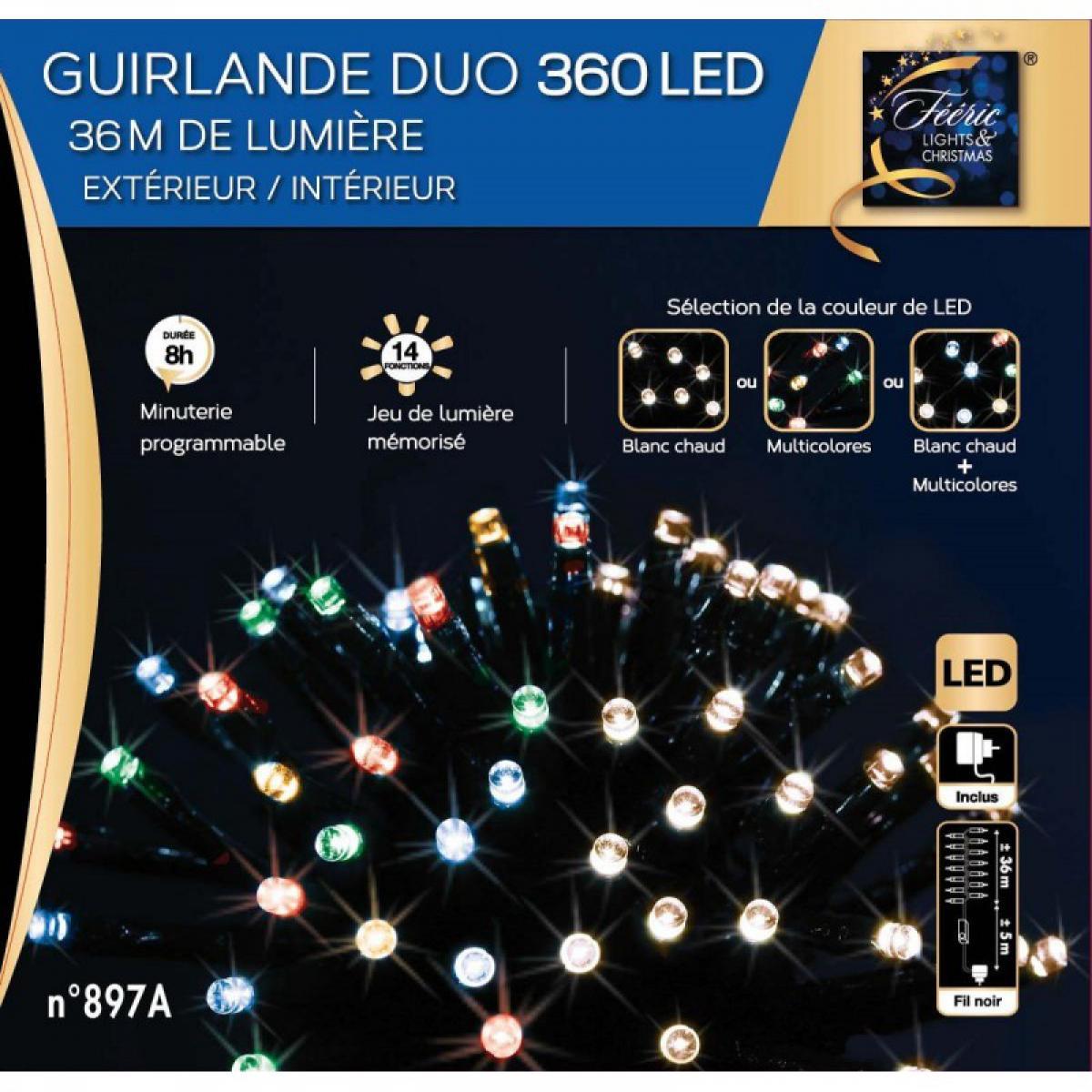 Jardideco Guirlande de Noël extérieur Duo LED 36 m Multicolore / Blanc chaud